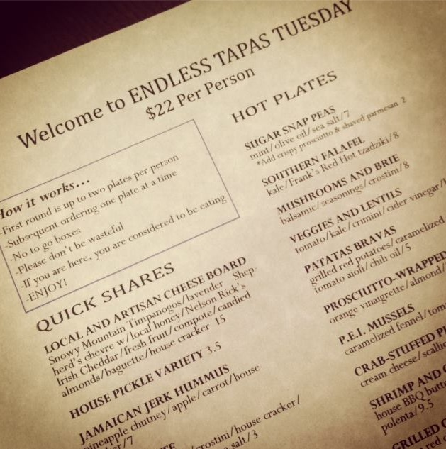 endless tapas tuesdays at meditrina