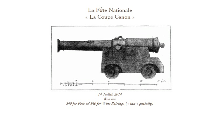 pago bastille day dinner 2014 cannon pictrue