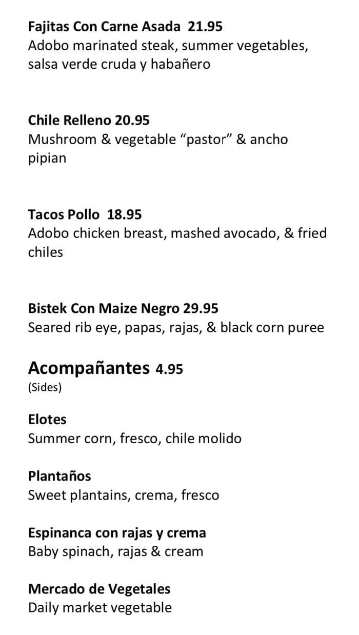 Alamexo new menu Aug 19 - entrees, sides