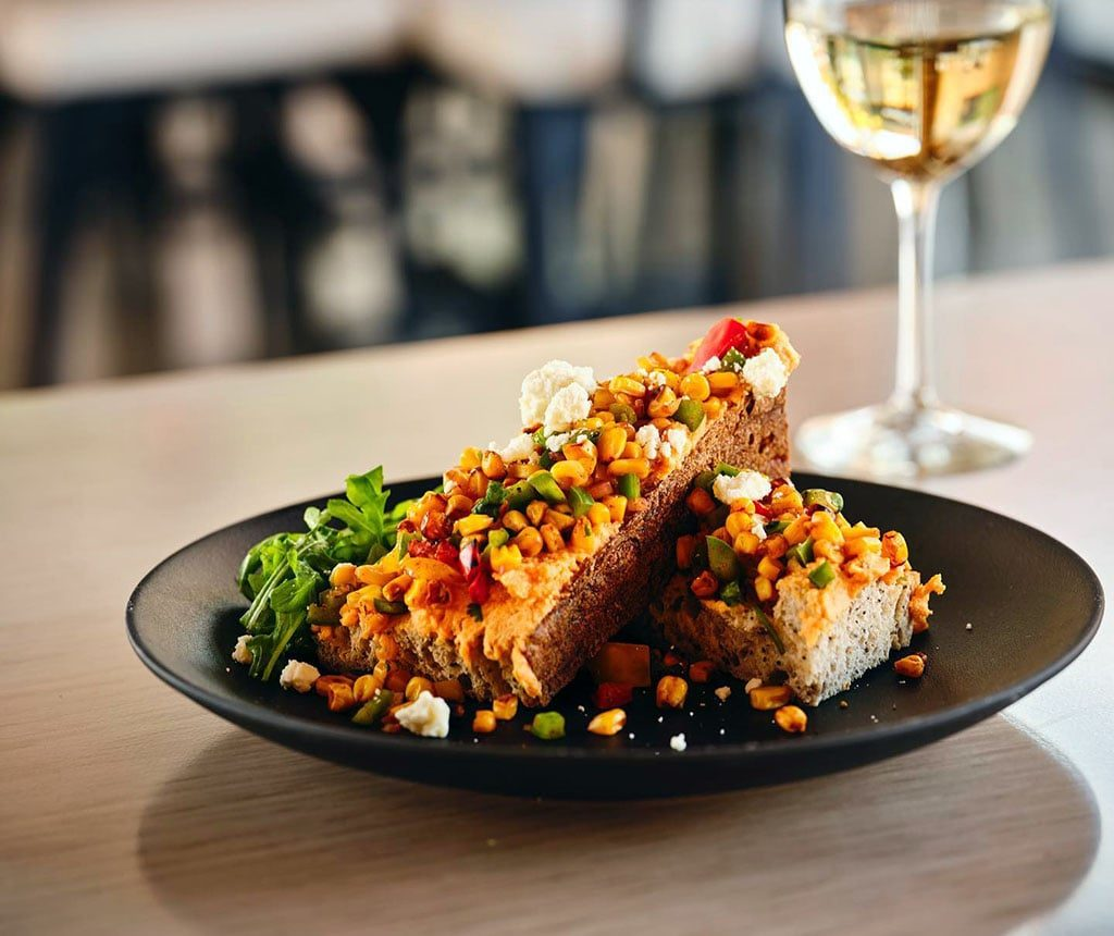 Cultivate Craft Kitchen - Toast, corn succotash, sweet potato whipped ricotta, arugula (CCK)