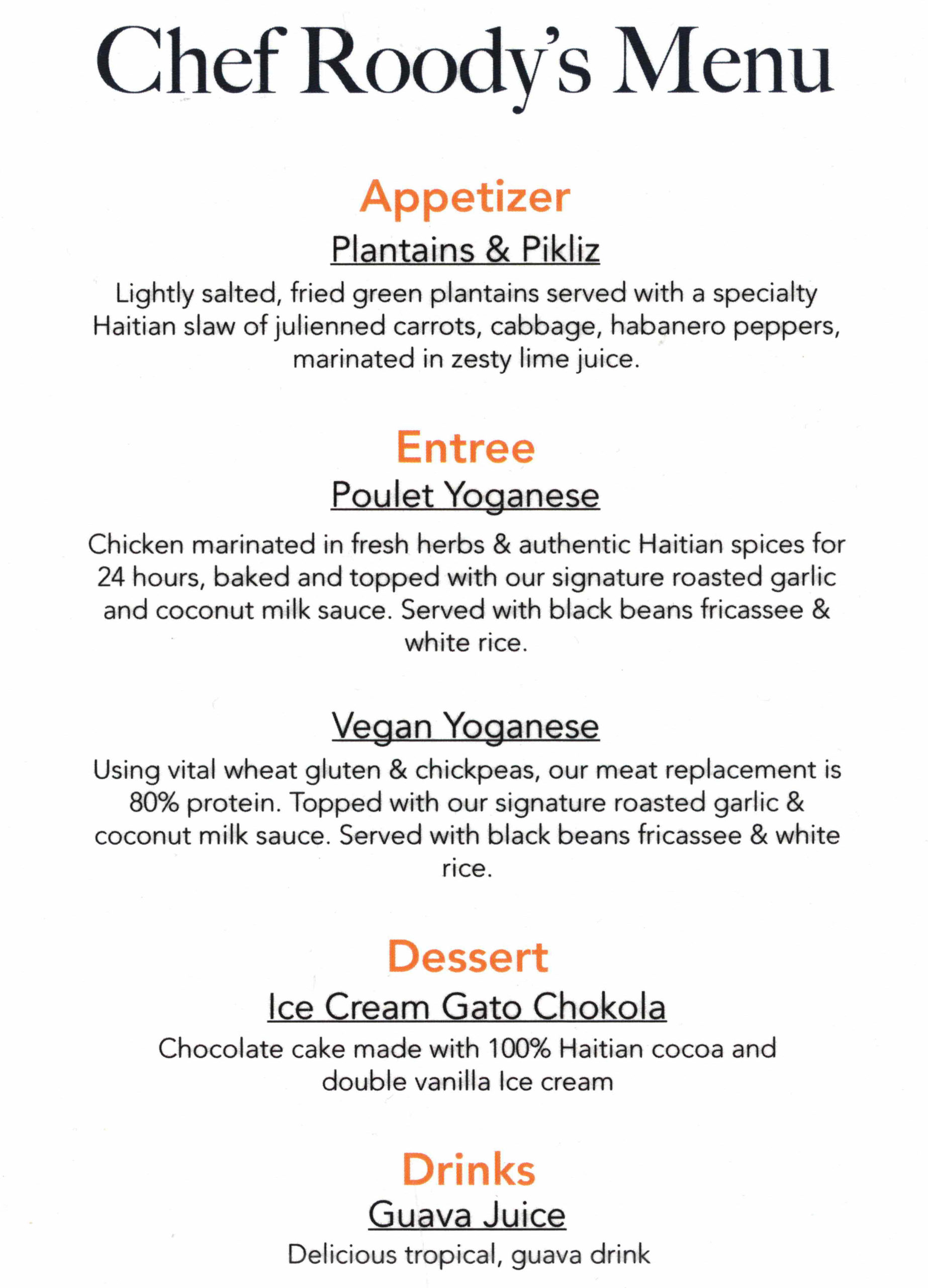 Chefpanzee Makaya catering menu