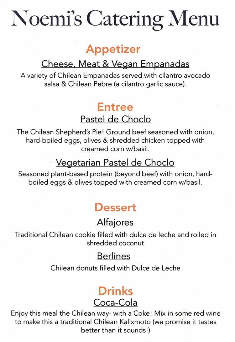 Chefpanzee Noemis catering menu