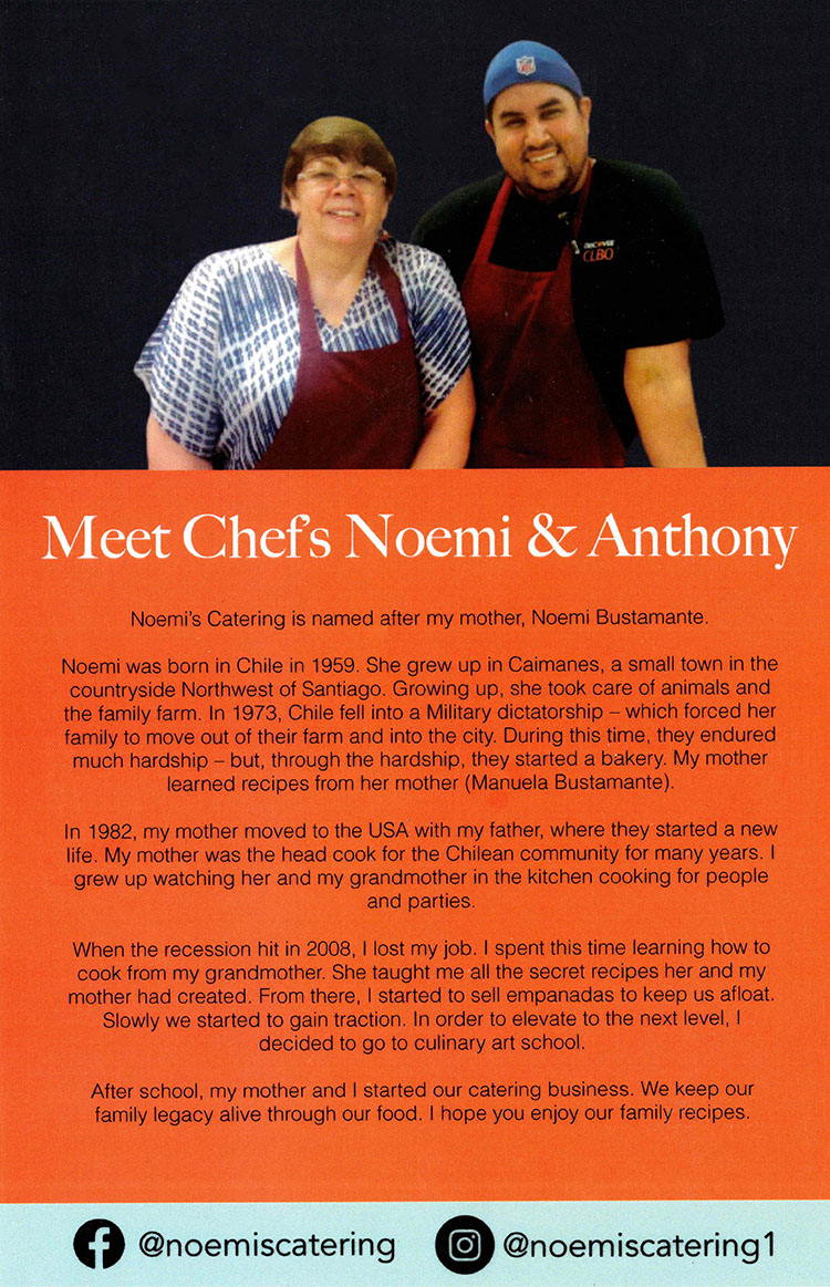 Chefs Noemi and Anthony of Noemi Catering