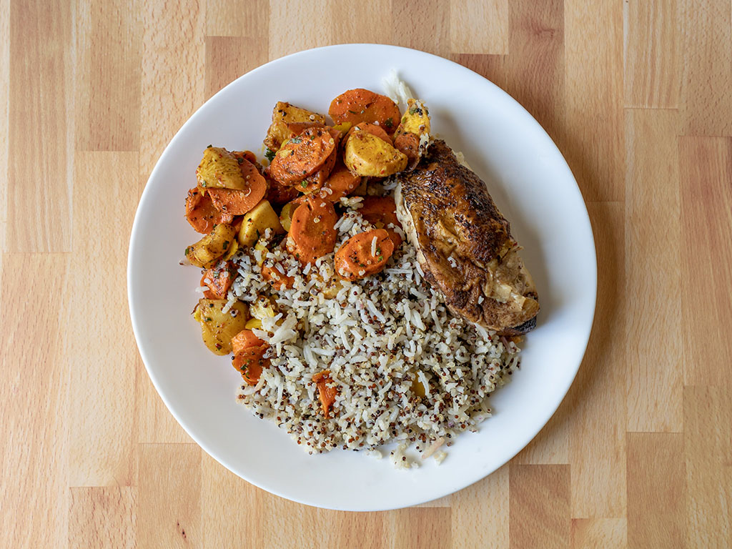 Vessel Kitchen - chicken, rice and roast vegetables