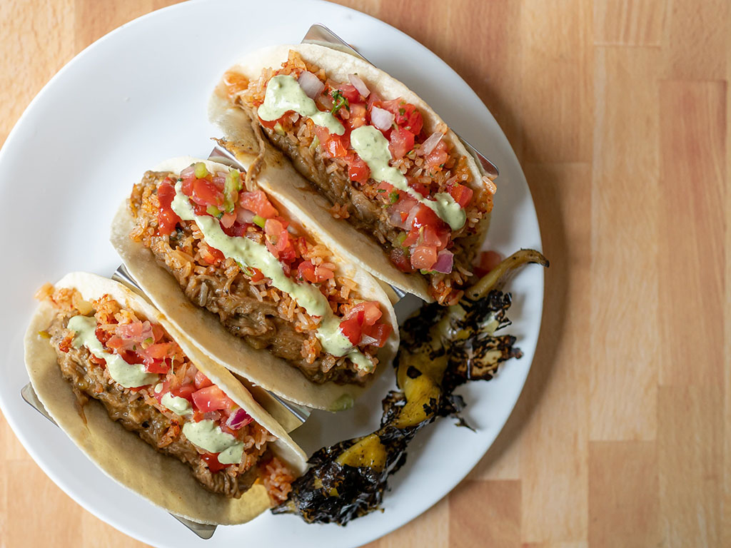 Harmons - tacos with hatch green chile and chile verde