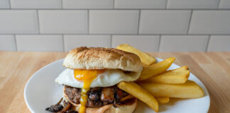 Beyond burger with runny egg
