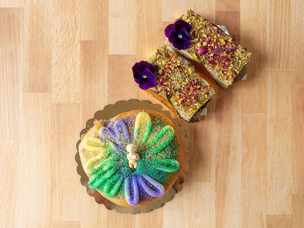 Flourish Bakery - king cake and Persian love cakes