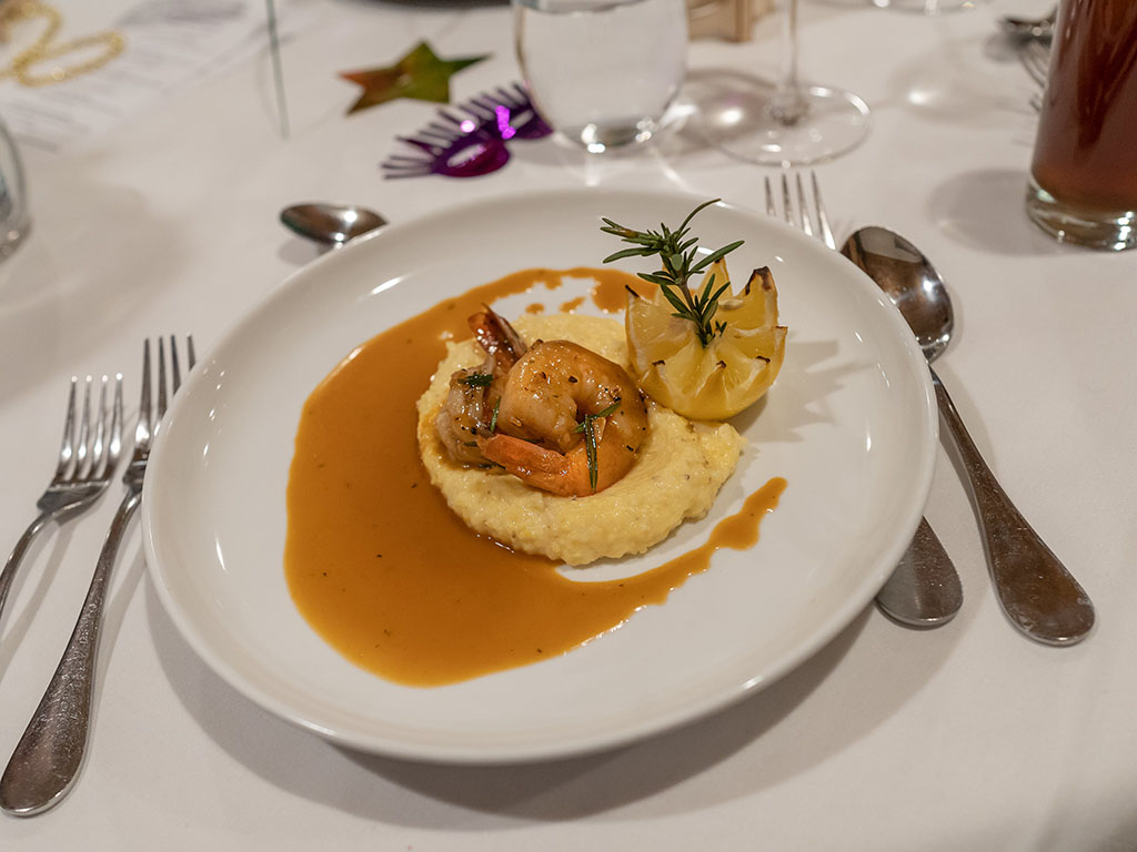 Stanza Mardi Gras 2020 dinner - New Orleans BBQ shrimp