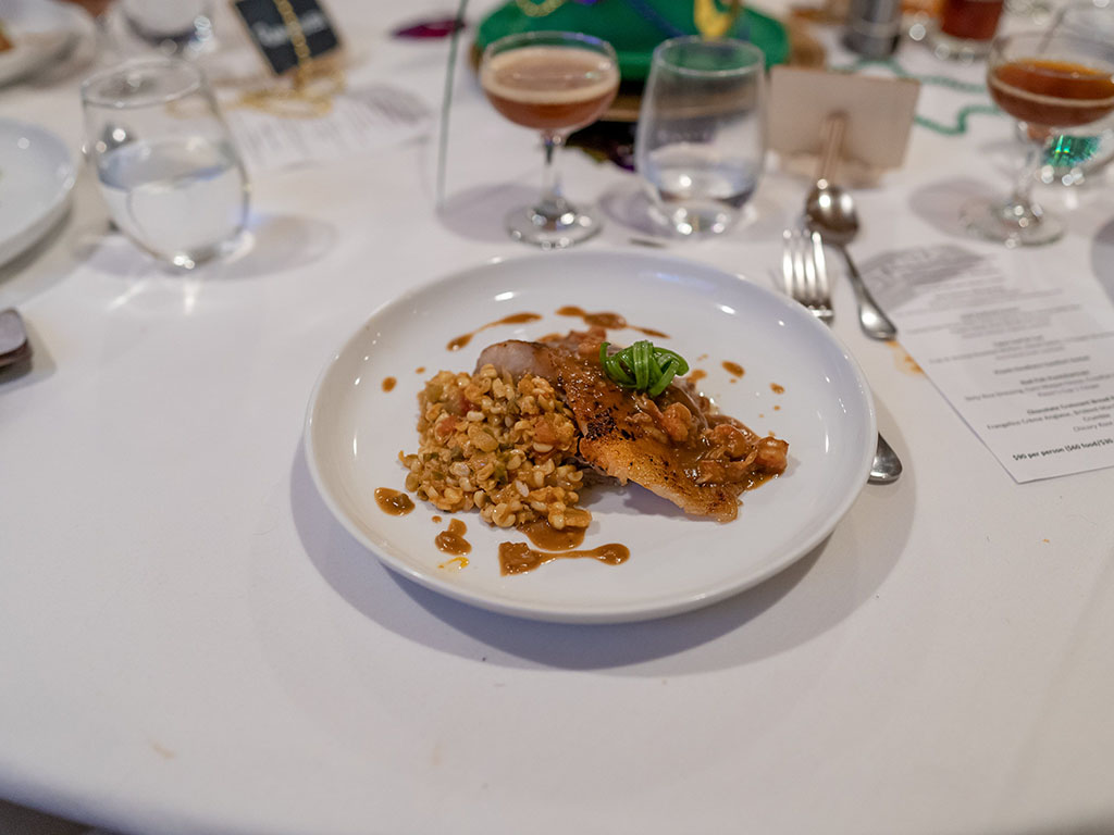 Stanza Mardi Gras 2020 dinner - red fish pontchartrain