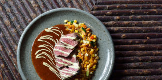 Log Haven - bison with sweet potato orzo